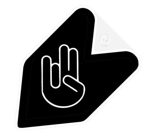 ## JDM WAKABA BADGE BLACK SHOCKER FINGERS Car Decal Flag not vinyl sticker ##
