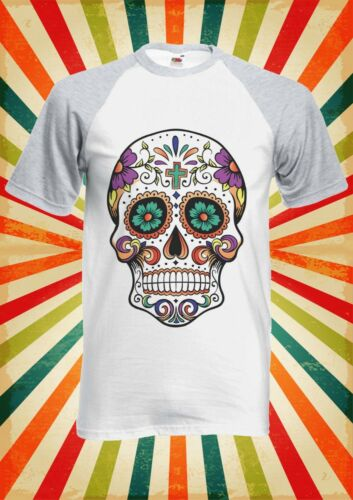 Floral Death Mexican Skull Men Women Long Short Sleeve Baseball T Shirt 1081