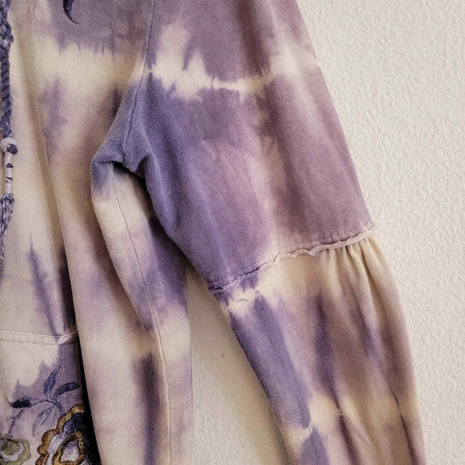 Penelope Violet Tie-Dye Embroidered Zip Up Sweater - image 4