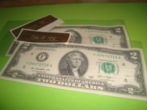 $2.00 TWO Dollar THANK YOU embossed Notes #2 two NEW CRISP Uncirculated U.S.A