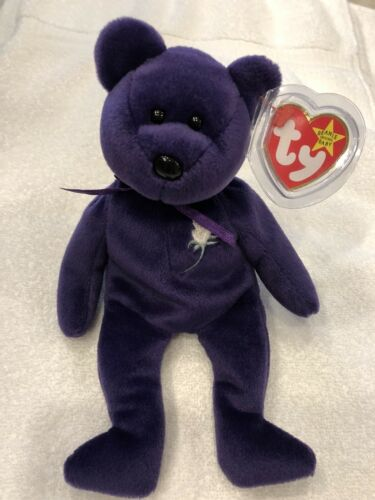 Mint Condition Ty Beanie Baby Original 1997 Princess Diana Purple Teddy Bear