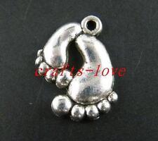 80pcs Tibet Silver Lovely Feet Pendants Charms 20x17mm 10163