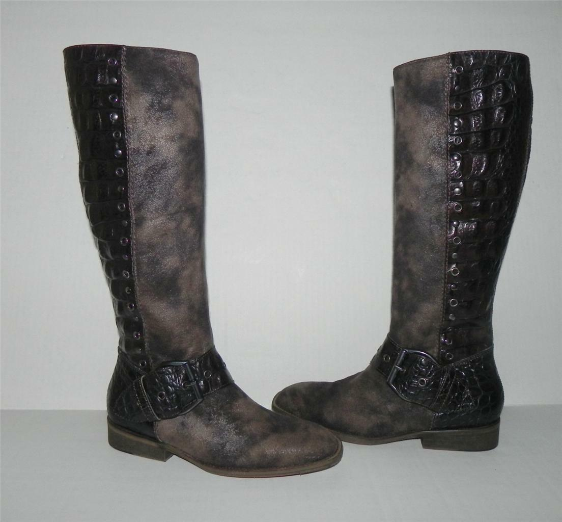 Donald Pliner Gale Brown Embossed Leather Trim Trim Trim Buckle Suede Knee High Boots 6 f6430d