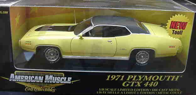 1971 Plymouth GTX Lemon Twist gul 1 18 Ertl American Muscle 33138