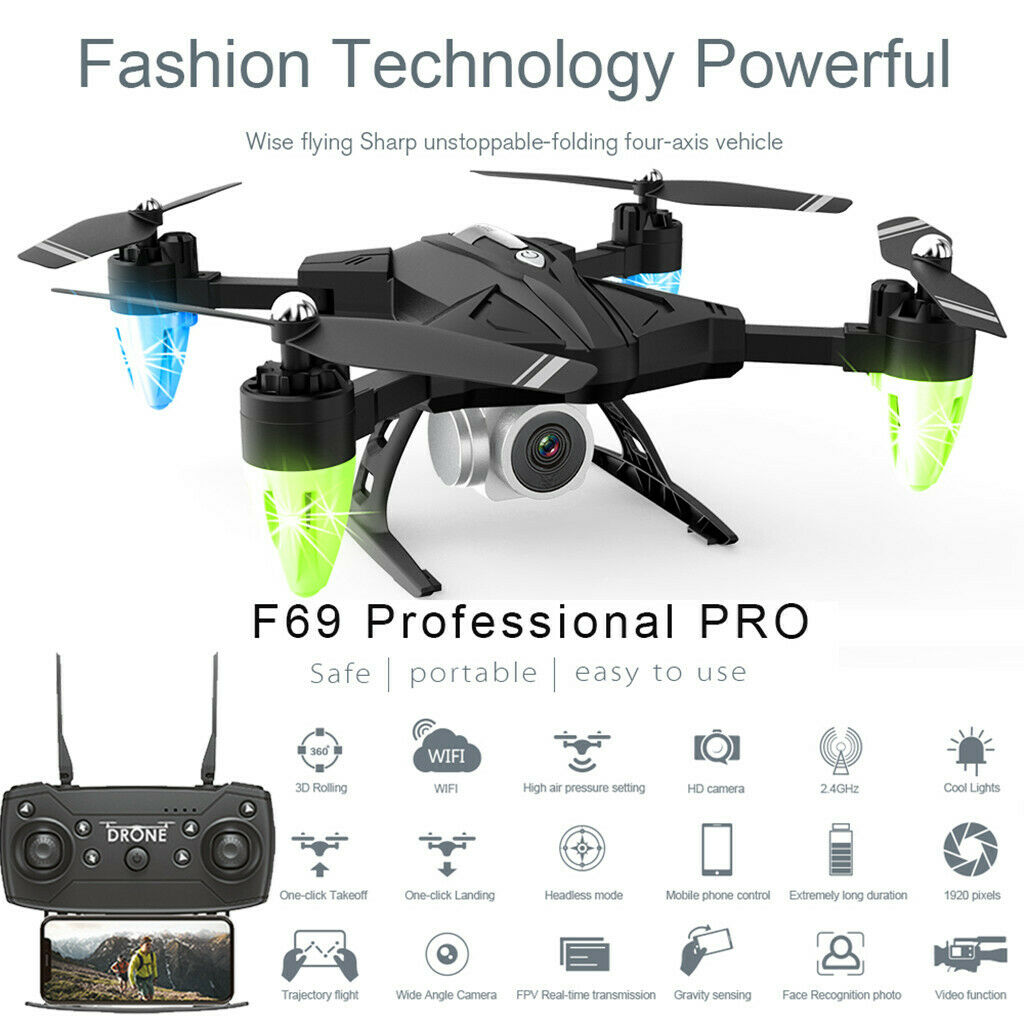 F69Pro 2.4G 5MP 1080P Wide Angle WIFI FPV HD telecamera  Foldable RC Drone Quadcopter  negozio di vendita outlet