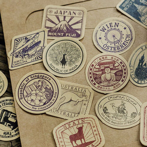 46pcs//box Vintage Travel DIY Diary Stickers Paper Lables Gifts Packagings BLUS