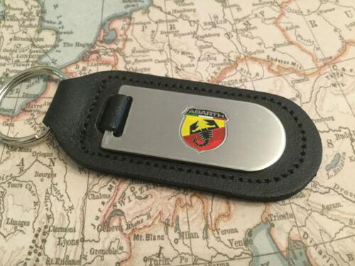 Abarth Fiat Schlüsselanhänger Geätzte und Gefüllt auf Leder 500