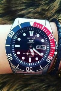 Seiko-5-Sports-JAPAN-Made-Pepsi-Sea-Urchin-Automatic-Men-039-s-Watch
