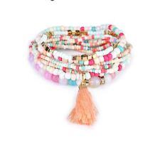 Pink, Blue, White Bead Multi layer Bracelet with Tassel