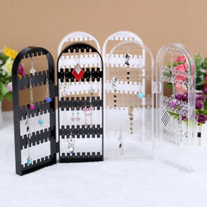 Clear-Jewelry-Display-Stand-Holder-Rack-Plastic-Folding-Screen-Earring-Organizer