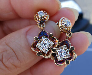 .56ct G/Si1 Vintage antique art deco dangling earrings floral flower 14k YG