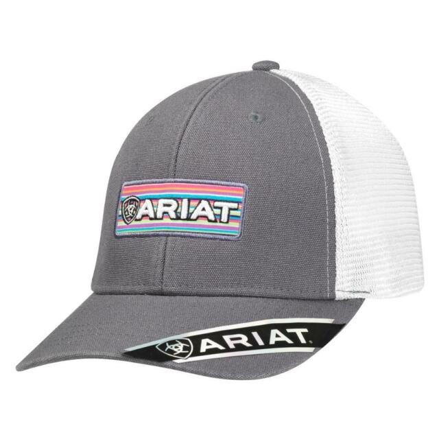 69649951bc5 Ariat Womens Hat Baseball Cap Embroidered Logo Patch Mesh Snap Grey 1512906