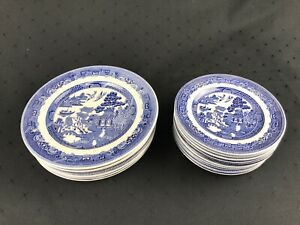 Vintage-JOHNSON-BROTHERS-Willow-Blue-Set-of-11-Saucers-7-Salad-Plates