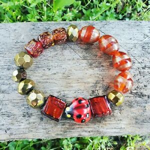 womens unique red & gold gypsy style stretch bracelet