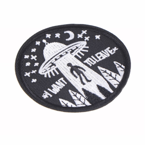 1Pc I Want To Leave Ufo Alien Badges Patch Embroidered Applique Sewing PatchFLA