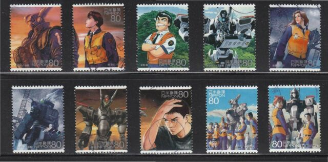 JAPAN 2008 ANIMATION HERO 8TH ISSUE PATLABOR MOBILE POLICE COMP. SET OF 10 STAMP