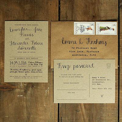 Personalised Calligraphy Brown Kraft Wedding Invitation- Rustic Vintage Handmade