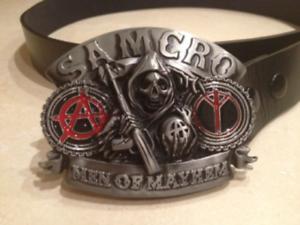 Sons Of Anarchy Men of Mayhem logo metal BUCKLE FREE BELT samcro motor cycle