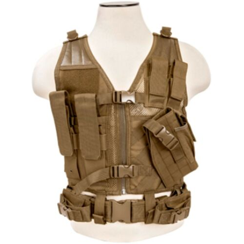 NcSTAR PVC Military Tactical Airsoft Heavy Duty MOLLE Vest w// Pistol Holster Tan
