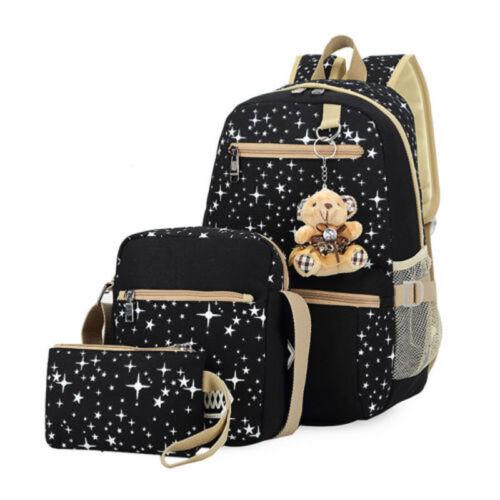 3 Set Rucksack Jungen Mädchen Schulrucksack Schulranzen Schultasche Mäppchen