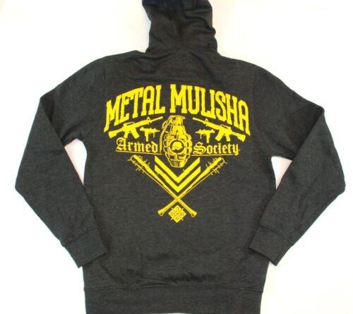 Metal Mulisha EXPLOSIVE PO Charcoal Gray Yellow Hooded Men/'s Sweatshirt