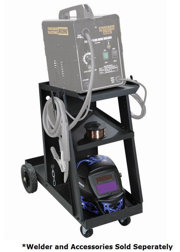 Welding Cart Accessories Wheel Storage Shelf for MIG Flux, Safety Tank Chains