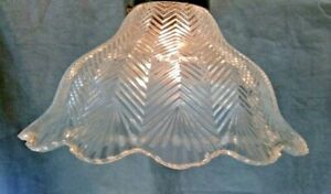 Herringbone-Holophane-Design-Shade-8-034-X-2-1-4-034-Glass-Globe-Fan-Fixture