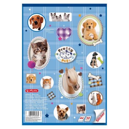 """Herlitz Malblock mit Sticker /""""Pretty Pets/"""" 50 Blatt DIN A4 Zeichenblock"""