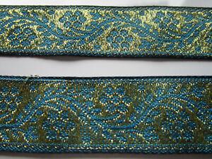 2-Meter-Borte-Spitze-2-2cm-Nichtelastisch-Tuerkis-Gold-breit-elegante-CL23-NC