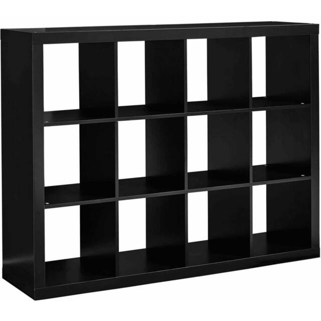 Better Homes and Gardens 12 Cube Storage Organizer Wood Solid Black Open