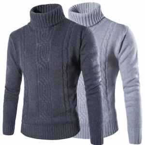 Mens-Winter-Warm-Knitted-Roll-Turtle-Neck-Pullover-Jumper-Tops-Cable-Sweater