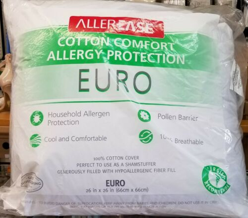 """AllerEase Cotton Allergy Protection Euro Pillow  Hypoallergenic Square 26 x 26/"""""""