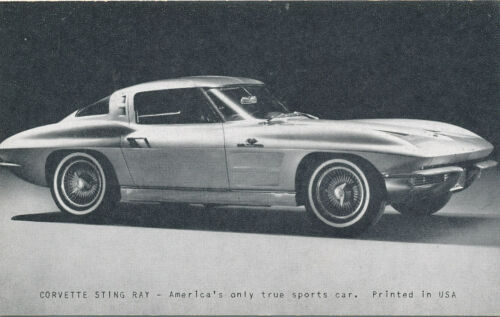 Corvette Sting Ray Vintage Advertising Trade Card ca. 1963 Chevrolet