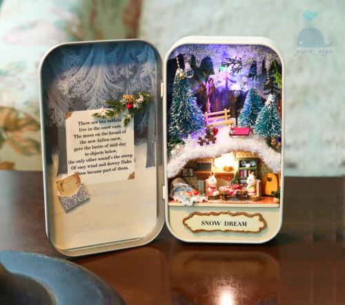 DIY Handcraft Miniature Project Dolls House The Snow Dream Tin Box Theatre