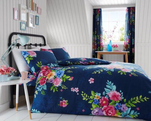 Nuevo Azul marino Multi Floral Flores Impreso ropa de Cama Edredón todos los tamaños