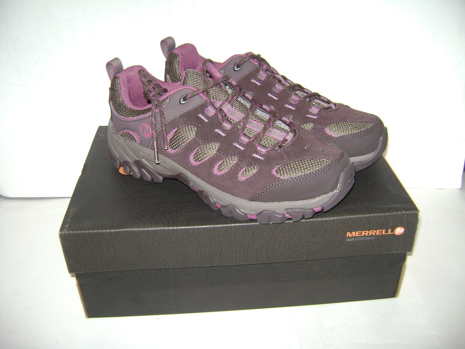 NIB MERRELL RIDGEPASS WOMEN HIKING TRAIL SHOES Size 9 M ESPRESSO blueSHING