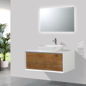 Aufsatzwaschbecken Mit Unterschrank badmöbel 90 cm eiche led spiegel aufsatzwaschbecken unterschrank