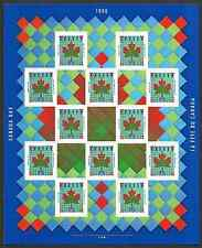 Canada Stamps -Full Pane of 12+Labels -Canada Day: Maple Leaf Quilt #1607a -MNH