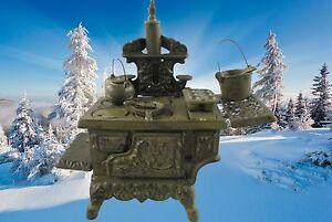 Kochmaschine-Herd-Kuechenofen-Miniatur-Puppenkuechen-amp-Zubehoer-Vintage-Stoevchen