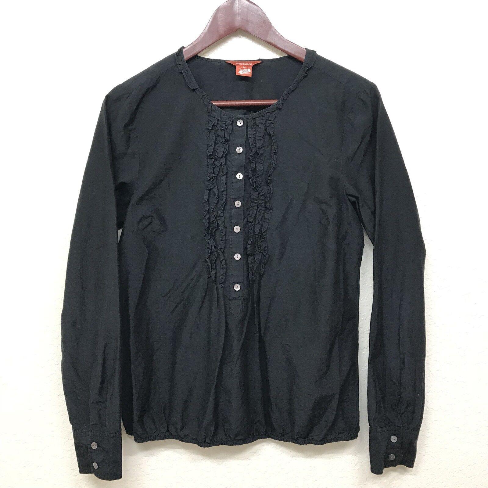 Sundnace Catalog Womens Navy bluee 1 2 Button Ruffle Long Sleeve Blouse Sz Medium
