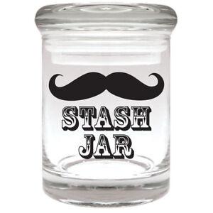 MOUSTACHE-Airtight-Smell-Proof-Spice-Herb-Storage-GLASS-STASH-JAR-1-8-oz