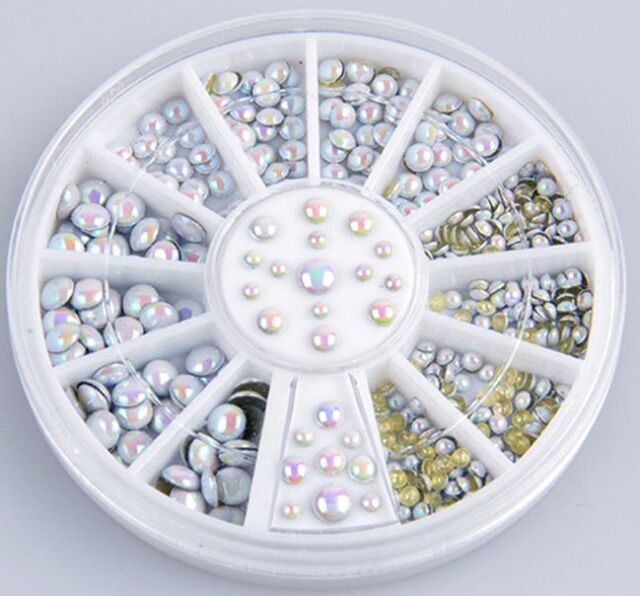 3D Hot Nail Art Rhinestones Glitters Acrylic Tips Decoration Manicure Wheel hs
