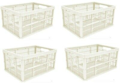 Strong Folding Collapsible Plastic Storage Crates Boxes Stackable Basket Strong