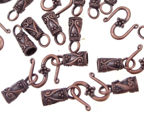 30pc Antique Copper Pewter S Hook End Caps Leather Cord