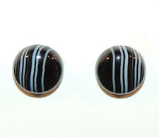 Black and White Agate 12mm Cabochons Set of 2 (9412)