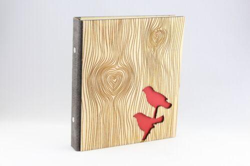 Individualisierbar Hochzeit Organizer Ringbuch Holz Liebe Vögel Stammbuch