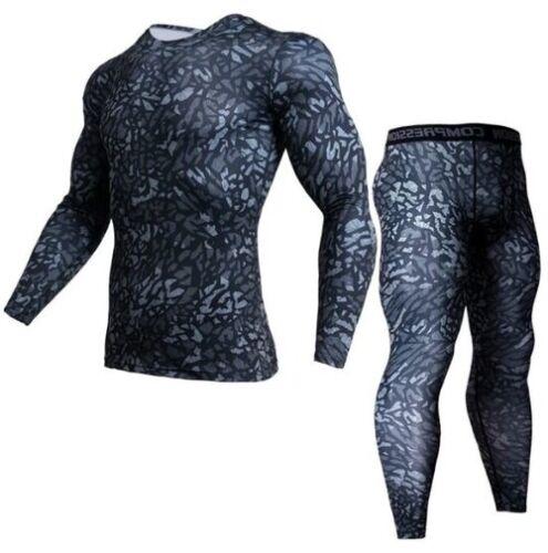 Camouflage à Manches Longues Compression Set Hommes Bodybuilding Rash Guard Combat Sports