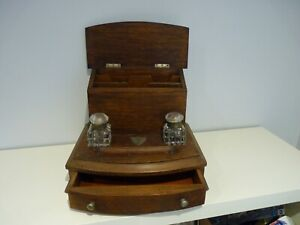 ANTIQUE OAK DESK TOP STATIONARY WRITING BOX CABINET WITH DOUBLE INKWELL