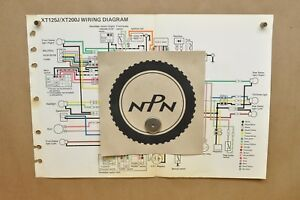 details about vtg 1982 yamaha xt125 j xt200 j factory color schematic wire wiring diagram 1986 Yamaha It200