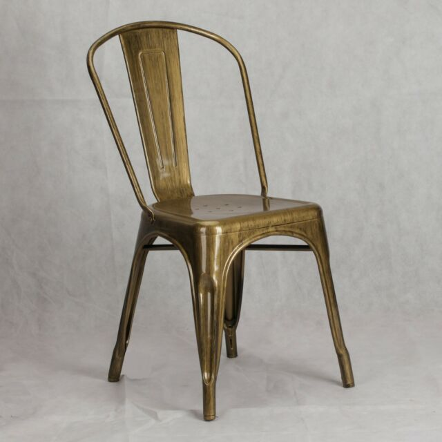 TOLIX INSPIRED METAL DINING CHAIR BRASS GOLD INDUSTRIAL CAFE STACKABLE SEAT